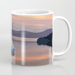 Boat At Bozburun At Sunset Vector Image Coffee Mug
