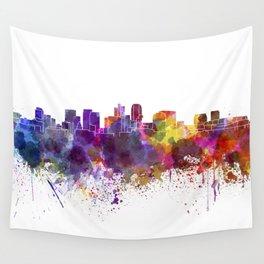 Phoenix skyline in watercolor background Wall Tapestry