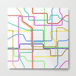 Colorful Subway Tunnel Pathway Map Metal Print