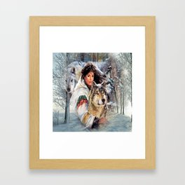Mountain Woman With Wolfs Framed Art Print