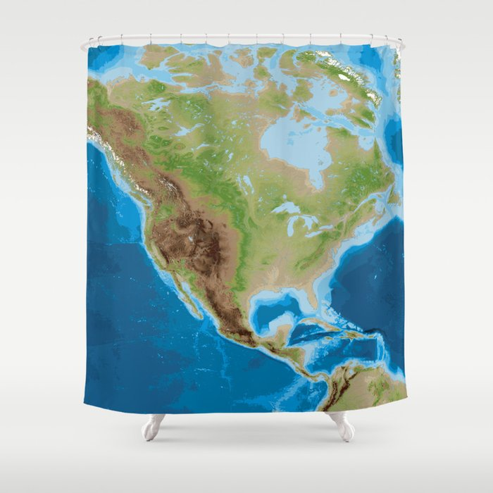 Topographic Map Of North America Shower Curtain By Blursbyaishop