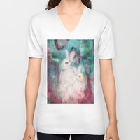 rabbits V-neck T-shirts featuring rabbits by Curtis Reynolds