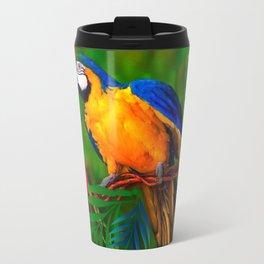 JUNGLE  FOLIAGE BLUE-GOLD MACAW PARROT Travel Mug