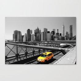 Yellow cab on Brooklyn Bridge, Manhattan, New York, USA. Canvas Print
