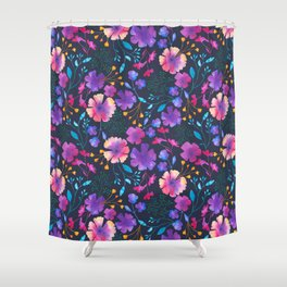 Fluro Floral Watercolour Flower Pattern Shower Curtain