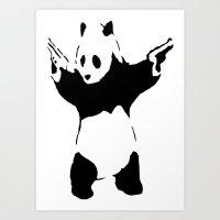 banksy Art Prints featuring Banksy Panda1 by vie3