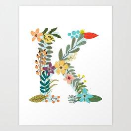 Monogram Letter K Art Print