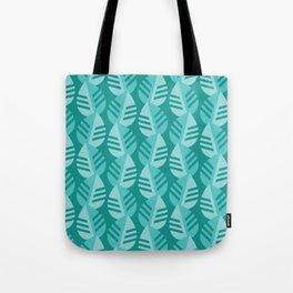 Teal Banana Leaves Print Tote Bag