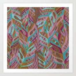 Tropical Burst, pink and green leaf pattern Art Print