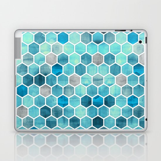 Blue Ink - watercolor hexagon pattern Laptop & iPad Skin