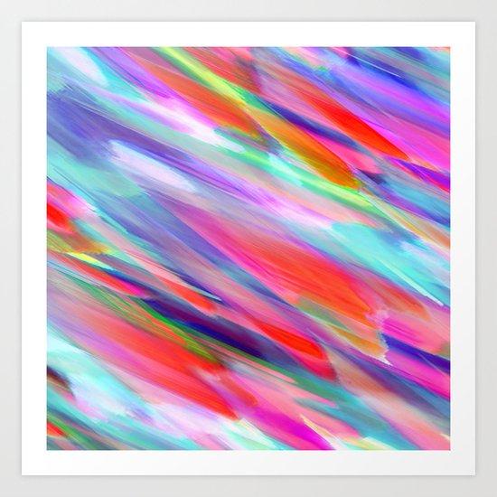 Colorful digital art splashing G399 Art Print