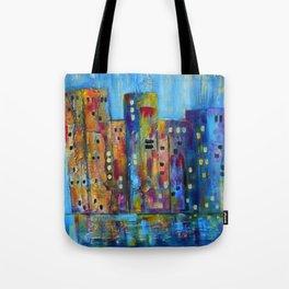 City in Winter Rain Impressionistic Tote Bag