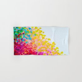 CREATION IN COLOR - Vibrant Bright Bold Colorful Abstract Painting Cheerful Fun Ocean Autumn Waves Hand & Bath Towel