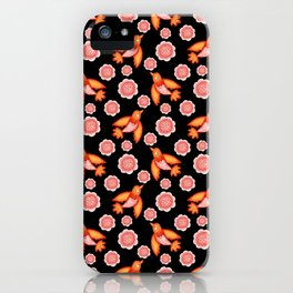 Little pretty swallows birds with spread wings and dusty pink blooming roses vintage retro pattern iPhone Case