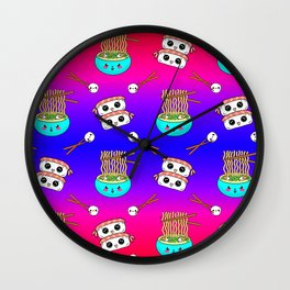 Cute funny Kawaii chibi little blue bowl ramen noodles, happy cheerful sushi with shrimp on top, rice balls and chopsticks blue pink and red pattern design. Nursery decor. Wall Clock