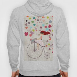 Red haired girl French polka dots dress riding retro bike bicycle backet full of hearts everywhere Hoody