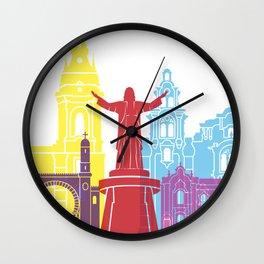 Lima skyline pop Wall Clock