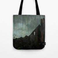 celtic Tote Bags featuring Celtic ruin  by IvanaW