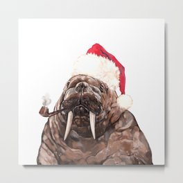 Christmas Daddy Walrus Metal Print