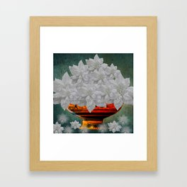 WHITE POINSETTIAS IN A BOWL Framed Art Print
