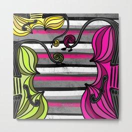 String Trio on stripes Metal Print