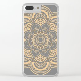 Mandala Flower Gray & Peach Clear iPhone Case