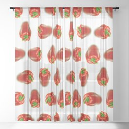 Red peppers pattern Sheer Curtain