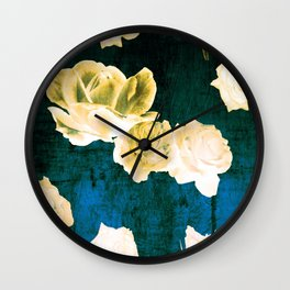 Gold Roses on Distressed Canvas Wall Clock