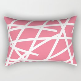 Abstract Criss Cross White Strokes on Pink Background Rectangular Pillow
