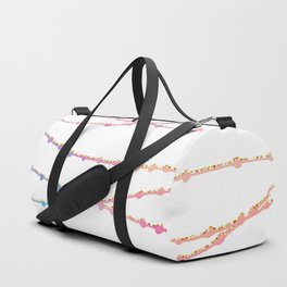 Modern abstract ombre pink lavender string lights Duffle Bag