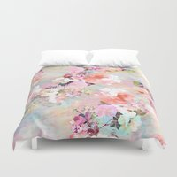 nature Duvet Covers featuring Love of a Flower by Girly Trend