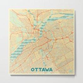 Ottawa Map Retro Metal Print