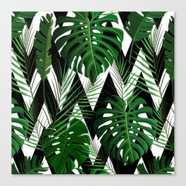 Geometrical green black white tropical monster leaves Canvas Print