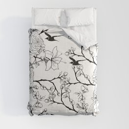 Simple vintage style black white bird floral drawing Comforters