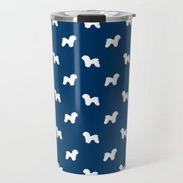 Bichon Frise dog pattern navy and white minimal pet patterns dog breeds silhouette Travel Mug