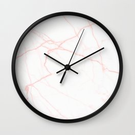 white and rose gold marble Wall Clock