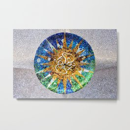 Round Ceiling Mosaic Tiles by Gaudi in Guell Park Barcelona Metal Print