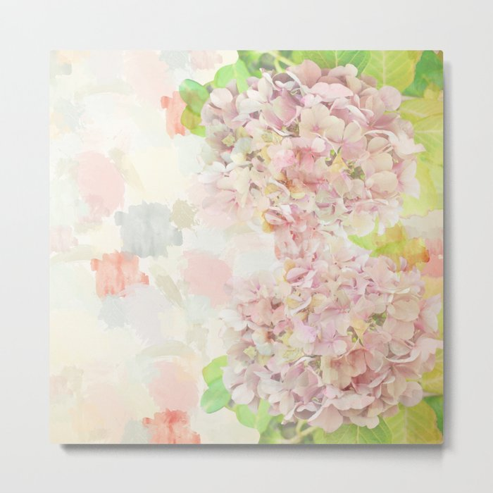 Pink Hydrangeas on a soft pastel abstract background Metal Print