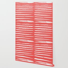 Irregular Hand Painted Stripes Coral Red Wallpaper