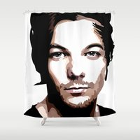 louis tomlinson Shower Curtains featuring LOUIS TOMLINSON Vector Portrait by LsArtistry