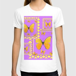 MODERN YELLOW BUTTERFLIES LILAC PURPLE PATTERN T-shirt