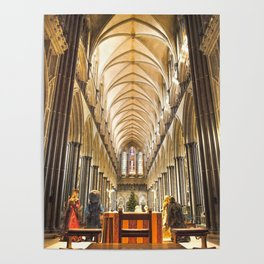 Salisbury Cathedral At Christmas Time Poster