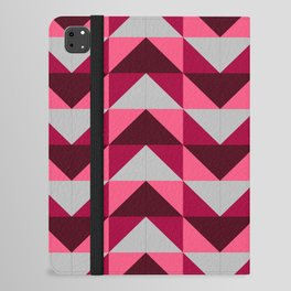 Abstract Ruby Red Pink White Chevron Square Print iPad Folio Case
