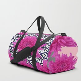 GREY ART DECO FUCHSIA CHRYSANTHEMUM FLORAL Duffle Bag