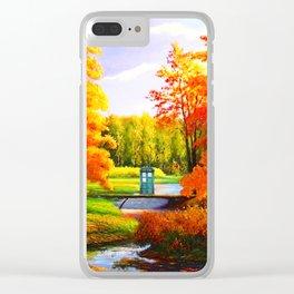 Tardis Art Bridge Forest Autumn Clear iPhone Case