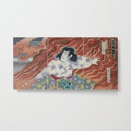 Toyohara Kunichikia - 1894 Japanese Print - Sword-Holder Among Flames Metal Print