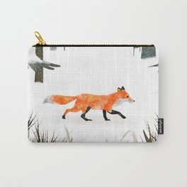 Fox In A Late Winter Snowfall Carry-All Pouch