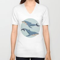 whales V-neck T-shirts featuring Whales by Evgeniya Ivanova