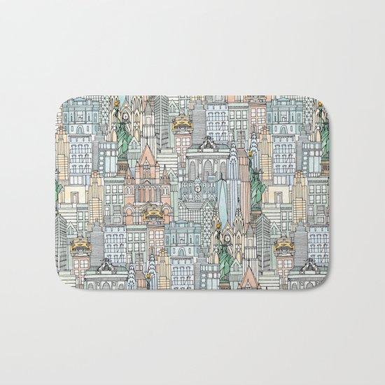 New York watercolor Bath Mat