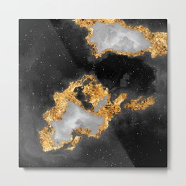 100 Starry Nebulas in Space Black and White 096 (Square) Metal Print